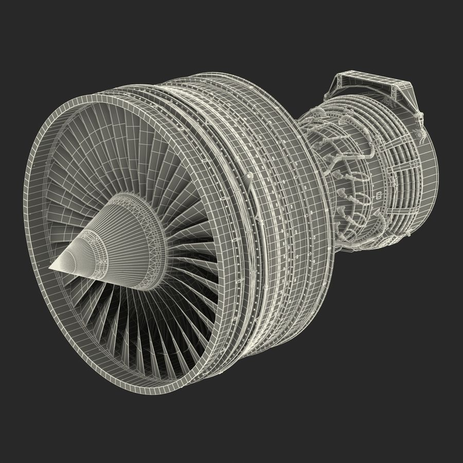 Turbofan Aircraft Engine royalty-free 3d model - Preview no. 38
