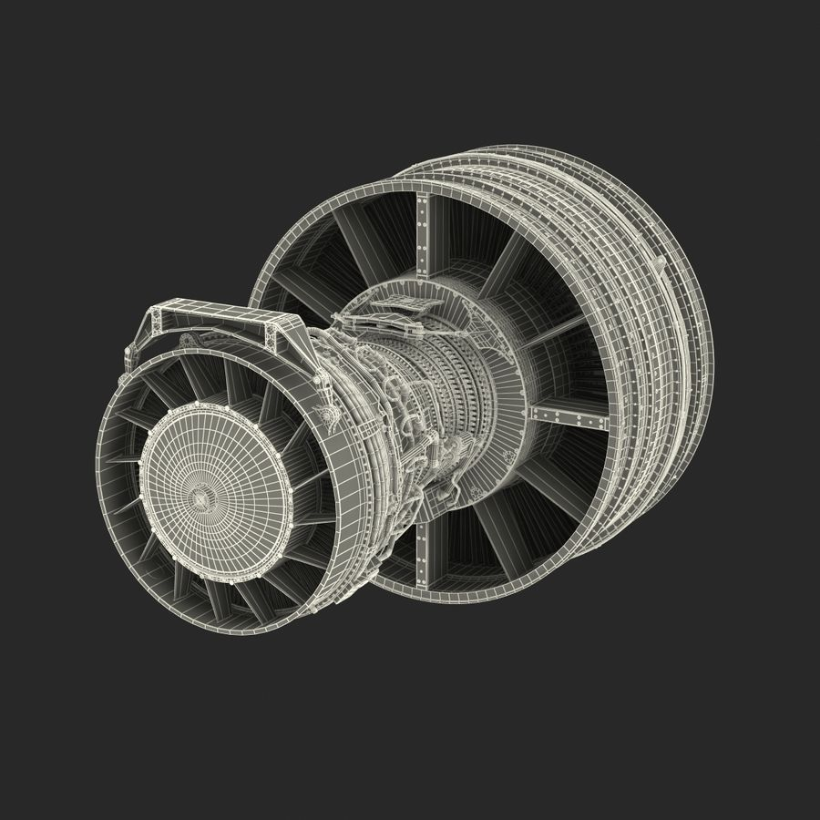 Turbofan Aircraft Engine royalty-free 3d model - Preview no. 42