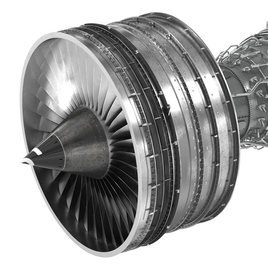 Turbofan Aircraft Engine royalty-free 3d model - Preview no. 14