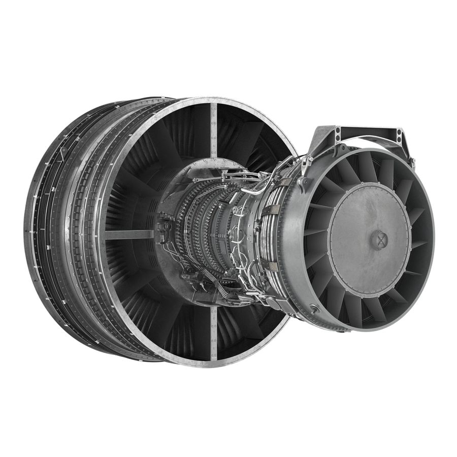 Turbofan Aircraft Engine royalty-free 3d model - Preview no. 7