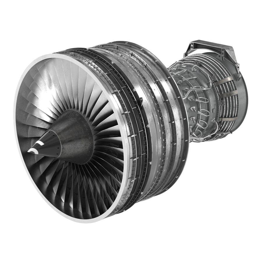 Turbofan Aircraft Engine royalty-free 3d model - Preview no. 4