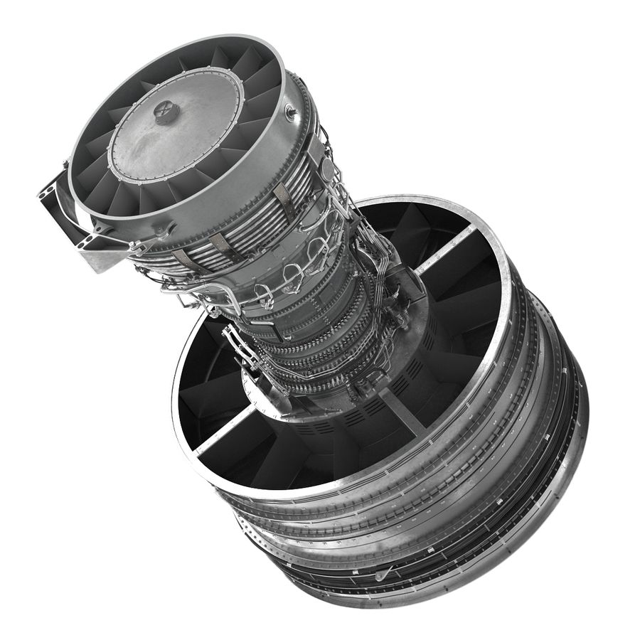 Turbofan Aircraft Engine royalty-free 3d model - Preview no. 13