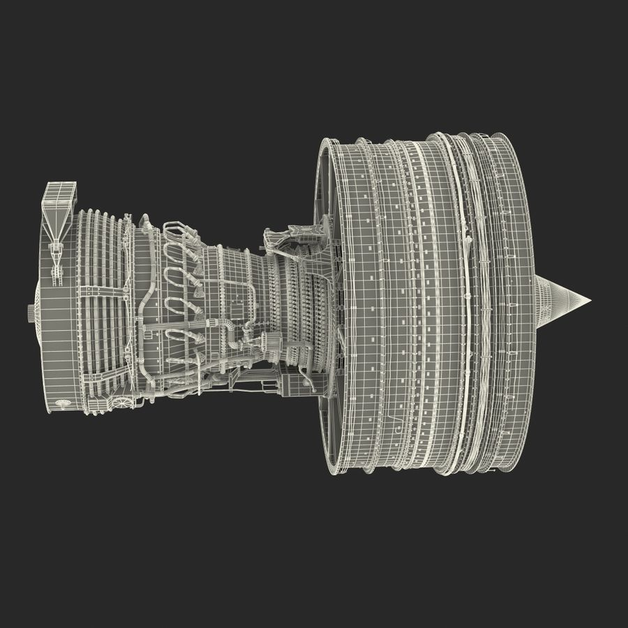 Турбореактивный авиационный двигатель royalty-free 3d model - Preview no. 41