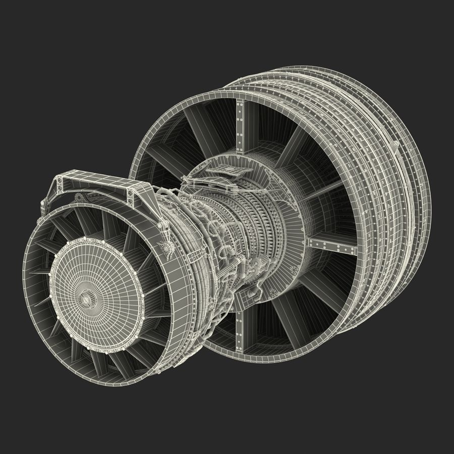 Turbofan Aircraft Engine royalty-free 3d model - Preview no. 39