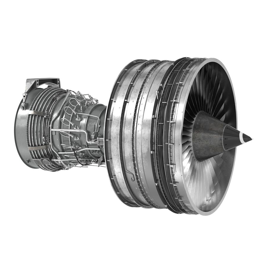 Turbofan Aircraft Engine royalty-free 3d model - Preview no. 2