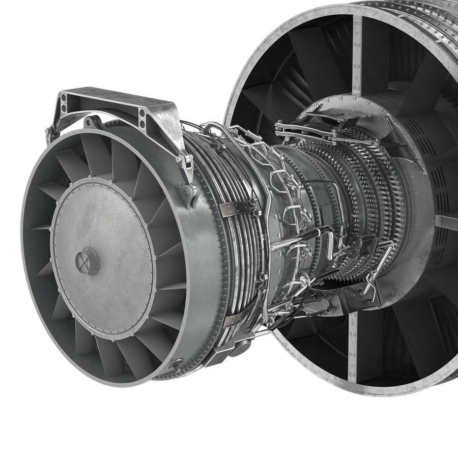 Турбореактивный авиационный двигатель royalty-free 3d model - Preview no. 17