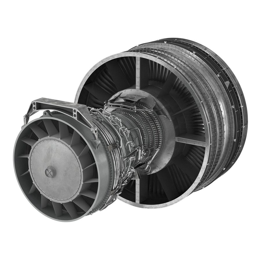 Turbofan Aircraft Engine royalty-free 3d model - Preview no. 6