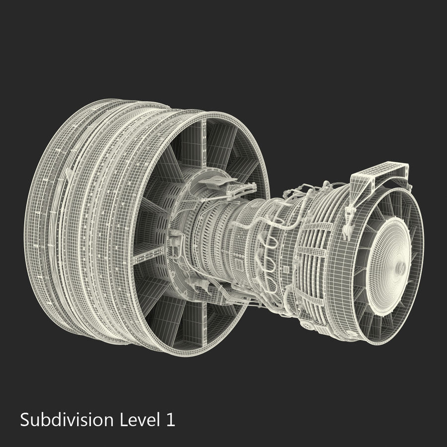 Turbofan Aircraft Engine royalty-free 3d model - Preview no. 26