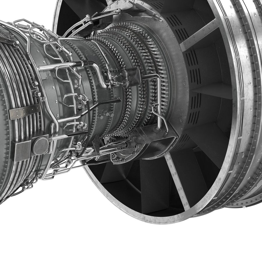 Turbofan Aircraft Engine royalty-free 3d model - Preview no. 21