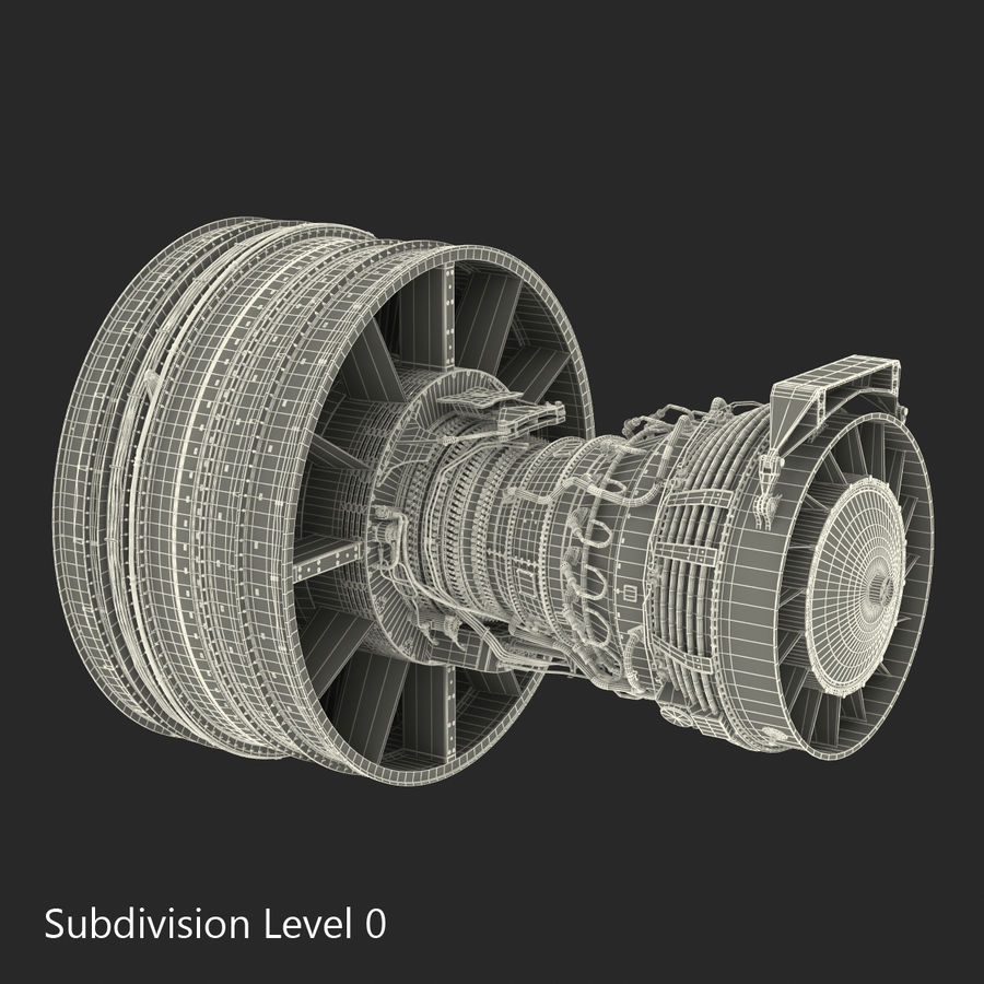 Turbofan Aircraft Engine royalty-free 3d model - Preview no. 25