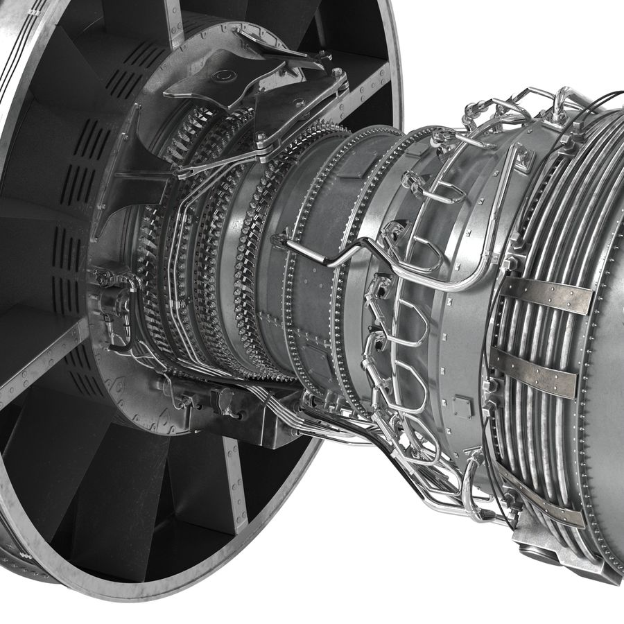 Turbofan Aircraft Engine royalty-free 3d model - Preview no. 24