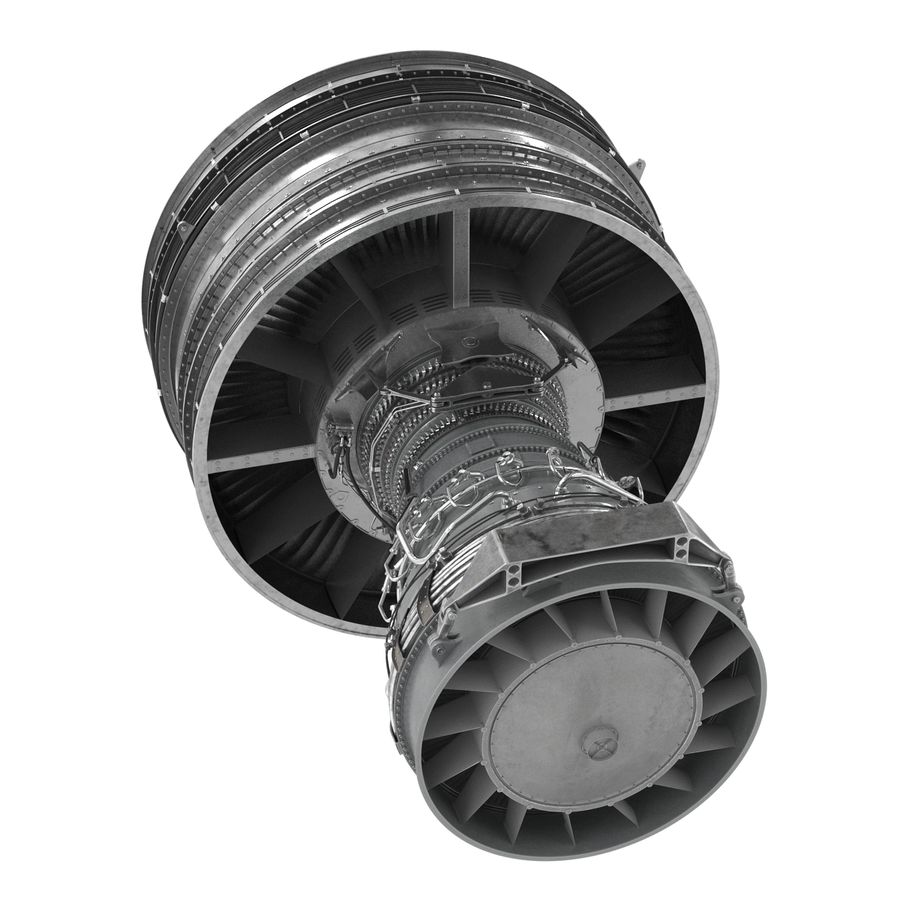 Turbofan Aircraft Engine royalty-free 3d model - Preview no. 9
