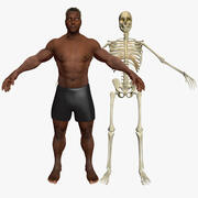 African American Male with Skeleton 3DSmax 3d model