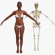 Afroamerikansk kvinna med skelett 3DSmax 3d model