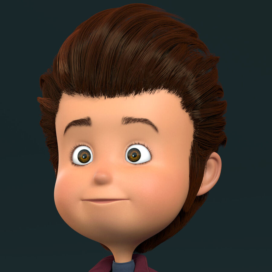 Cartoon Character Boy Rigged royalty-free 3d model - Preview no. 4