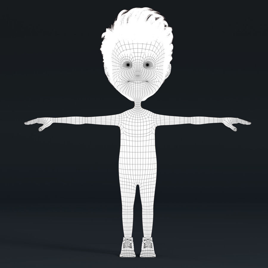 Cartoon Character Boy Rigged royalty-free 3d model - Preview no. 8