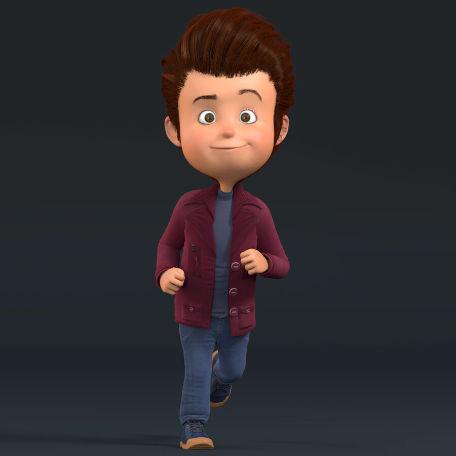 Cartoon Character Boy Rigged royalty-free 3d model - Preview no. 2