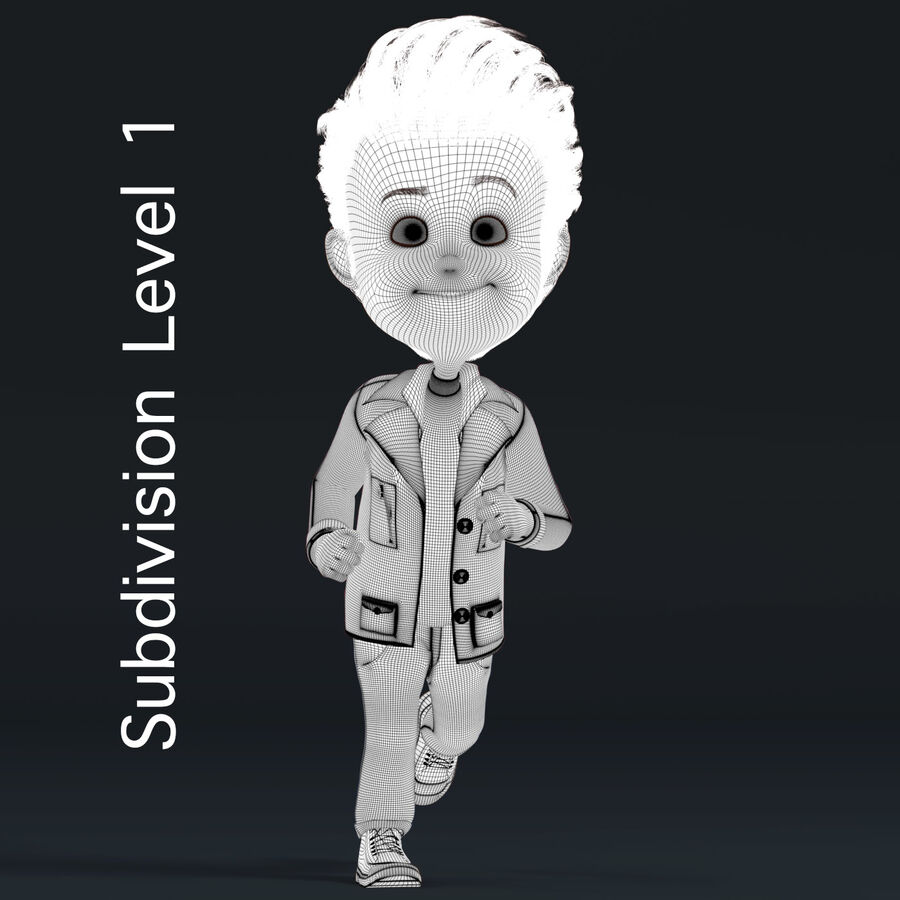 Cartoon Character Boy Rigged royalty-free 3d model - Preview no. 13