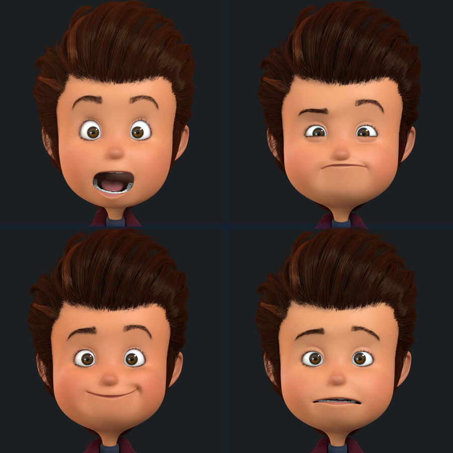 Cartoon Character Boy Rigged royalty-free 3d model - Preview no. 6