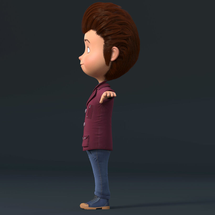Cartoon Character Boy Rigged royalty-free 3d model - Preview no. 10