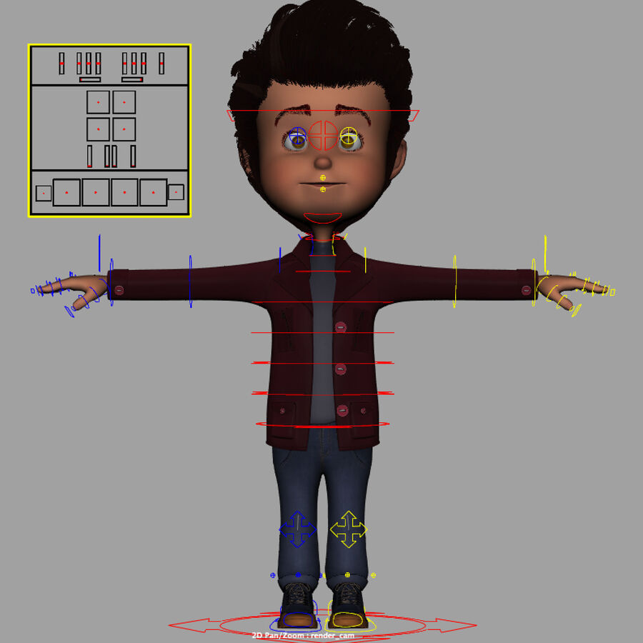 Cartoon Character Boy Rigged royalty-free 3d model - Preview no. 14