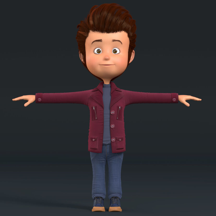 Cartoon Character Boy Rigged royalty-free 3d model - Preview no. 3