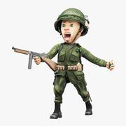 漫画の兵士第二次世界大戦の艤装 3d model