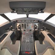 Cockpit du Challenger Bombardier 3d model