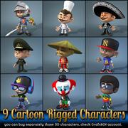 9个卡通人物 3d model