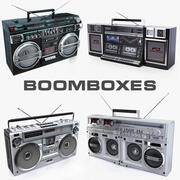 Eski boomboxes Sharp ve Crown koleksiyonu 3d model