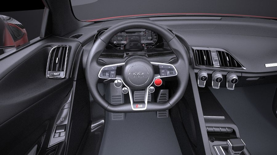 Audi R8 V10 Plus 2017 royalty-free 3d model - Preview no. 10
