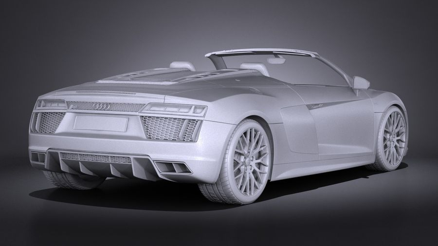 Audi R8 Spyder V10 2017 royalty-free 3d model - Preview no. 15
