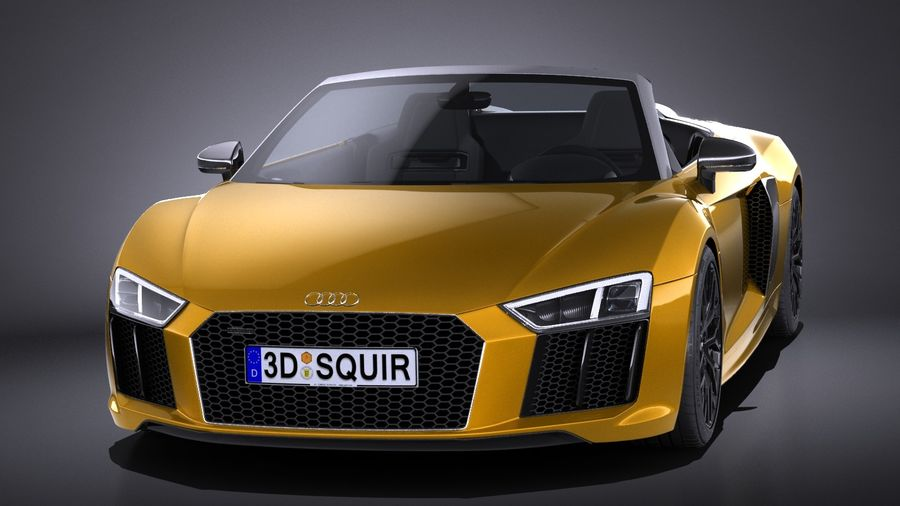 Audi R8 Spyder V10 2017 royalty-free 3d model - Preview no. 2