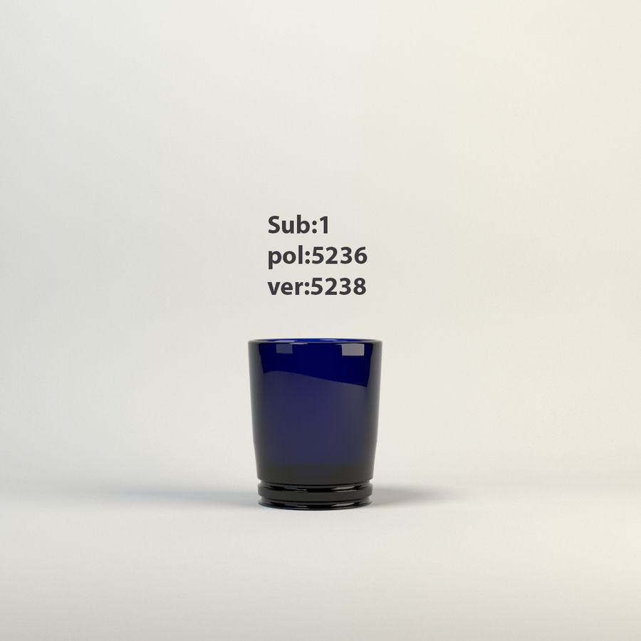 vidrio azul royalty-free modelo 3d - Preview no. 4