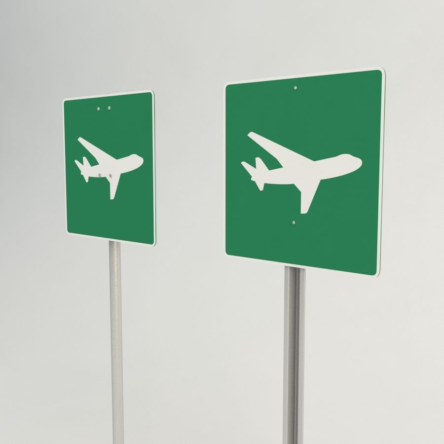 señales de aviones de bajo vuelo royalty-free modelo 3d - Preview no. 3