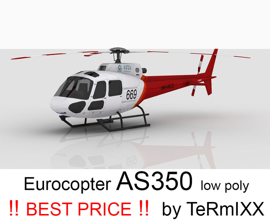 Eurocopter AS350 Skin 3 royalty-free 3d model - Preview no. 1