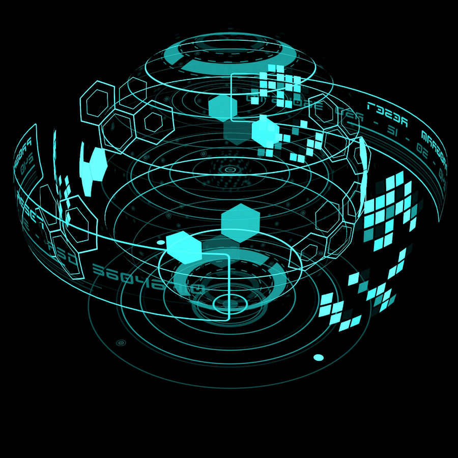 Hologram planet royalty-free 3d model - Preview no. 2