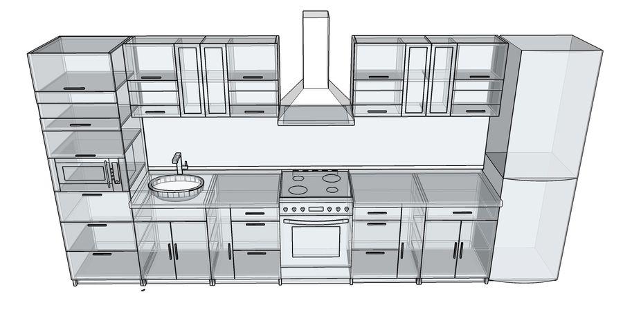 Kitchen 2 royalty-free 3d model - Preview no. 5