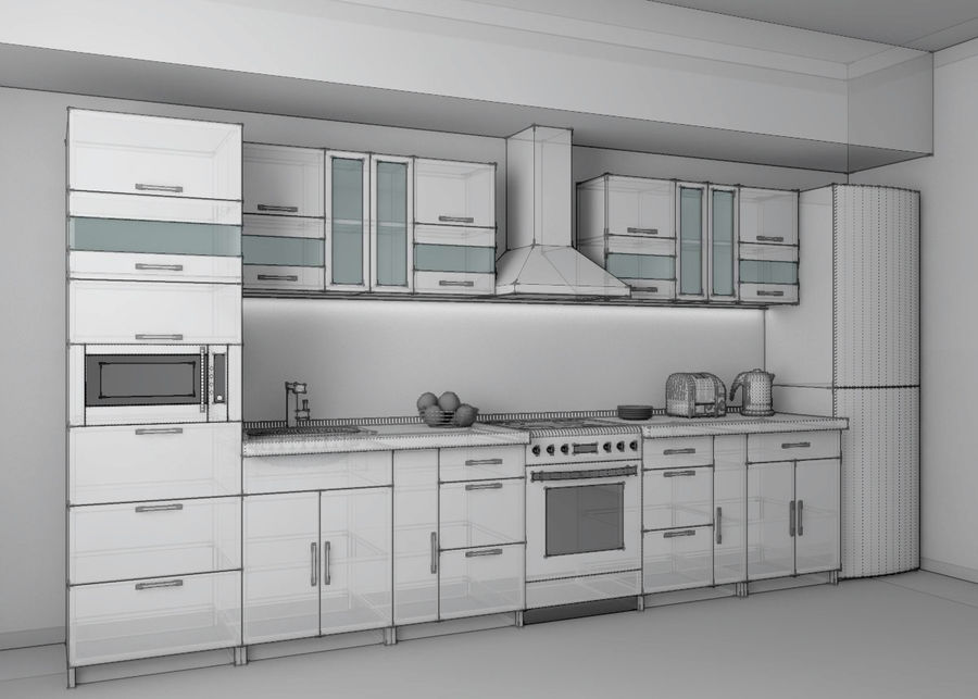 Kitchen 2 royalty-free 3d model - Preview no. 3