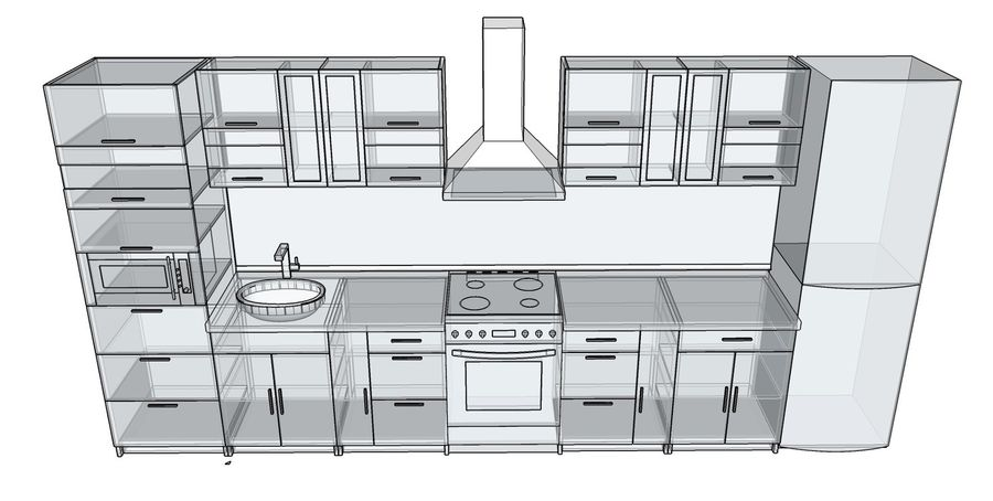 Kitchen 2 royalty-free 3d model - Preview no. 5