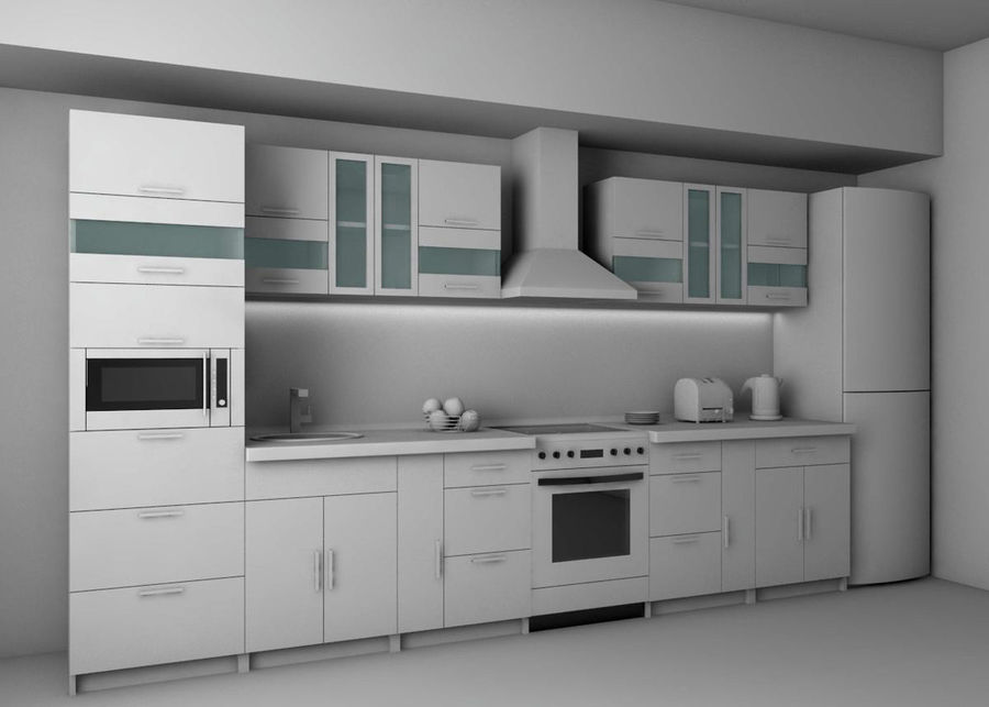 Kitchen 2 royalty-free 3d model - Preview no. 2
