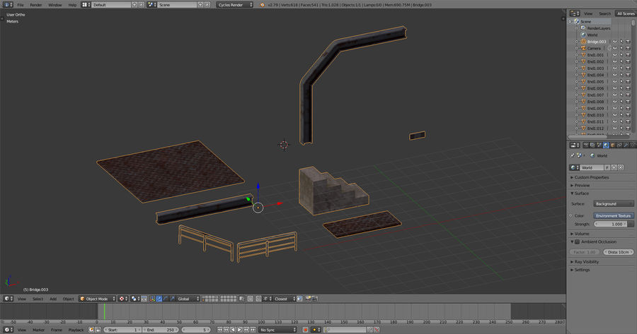 Modular Bridge royalty-free 3d model - Preview no. 7