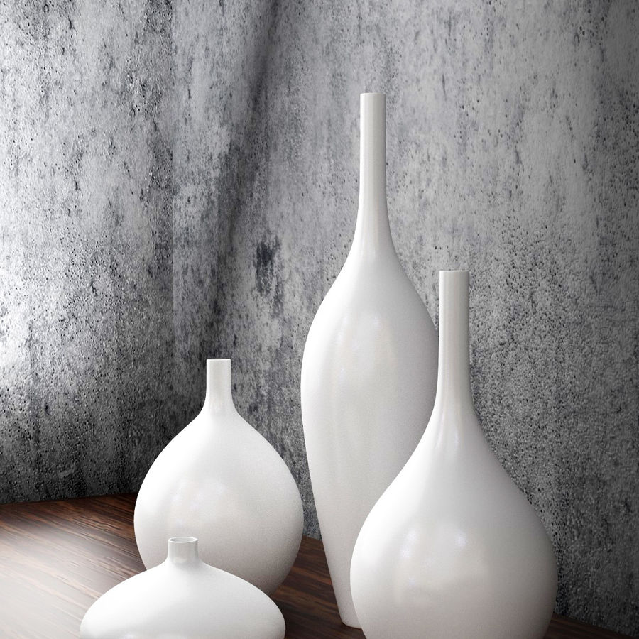 White Decor Vase Set royalty-free 3d model - Preview no. 5