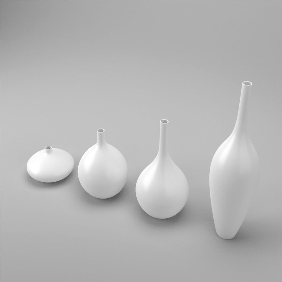 White Decor Vase Set royalty-free 3d model - Preview no. 3