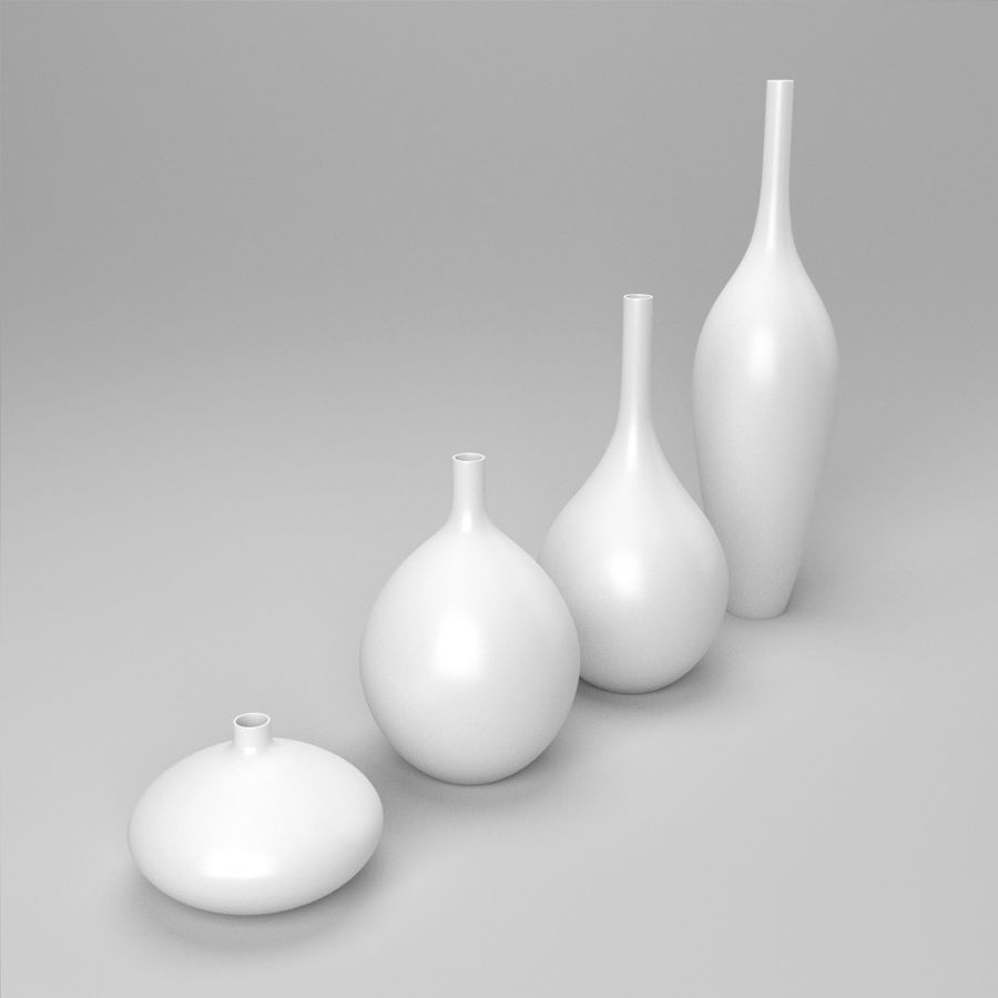 White Decor Vase Set royalty-free 3d model - Preview no. 4