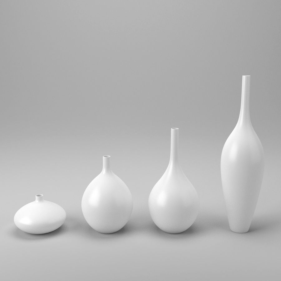 White Decor Vase Set royalty-free 3d model - Preview no. 2