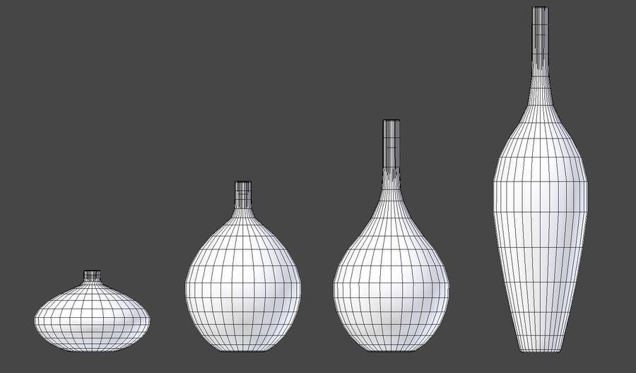 White Decor Vase Set royalty-free 3d model - Preview no. 9