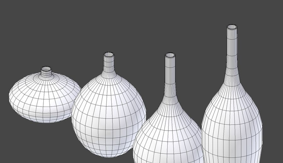 White Decor Vase Set royalty-free 3d model - Preview no. 10