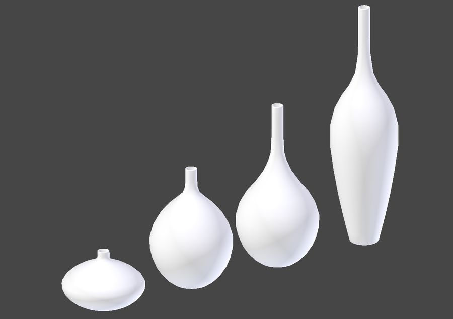 White Decor Vase Set royalty-free 3d model - Preview no. 7