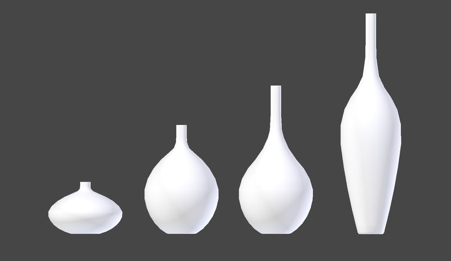 White Decor Vase Set royalty-free 3d model - Preview no. 6